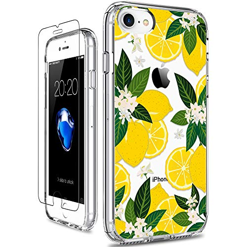 GiiKa iPhone SE 2020 Case, iPhone 8 Case, iPhone 7 Case with Screen Protector, Clear Protective Case Floral Girls Women Hard PC Case with TPU Bumper Cover Phone Case for iPhone 8, Yellow Lemons