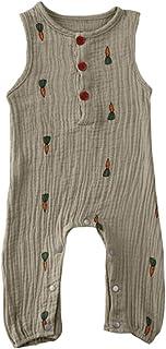 PDYLZWZY Neugeborene Baby Sommerkleidung Ärmellose Rüschen Strampler Baumwolle Leinen Einteilige Kleidung für 0-24 Monate