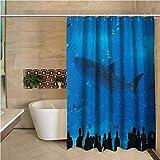 N\A Cortina de Ducha Blanca Tiburón Acuario japonés Parque con Siluetas de Personas Viendo la Vida submarina Imagen de Hobby Azul Negro