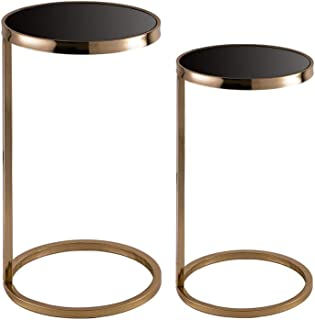 Glitzhome Deluxe Metal Mirrored Round Gold Accent C Table with Glass Black Top, Set of 2