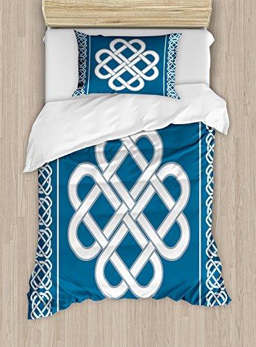 Ambesonne Irish Duvet Cover Set, Celtic Love Knot Good Fortune Symbol Framework Border Design, Decorative 2 Piece Bedding Set with 1 Pillow Sham, Twin Size, Aqua White