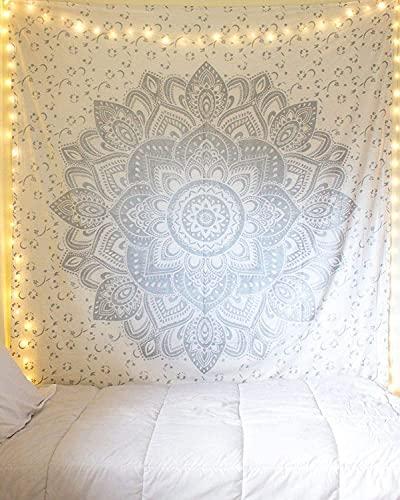 RAAJSEE Wandteppich in Metallic-Silberfarben, Mandala-Design, indische Baumwolle, Stranddecke, Hippie-Wandteppich, Boho-Dekoration, Doppel-Tagesdecke für Ihre Yoga-Meditationsmatte, ca. 130 x 150 cm