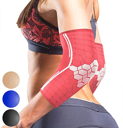 Sparthos Elbow Compression Sleeves by (Pair) - Tennis and Golfer's Elbow Support - Elbow Brace for Men and Women - Made from Innovative Breathable Elastic Blend (Small, Flamingo Pink)