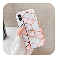 SUPEIL iPhone 12 11 Pro XR XS Max 6 6S 7 8 Plus X Soft Electroplate Geometric Marble Back Cover With FingerRingの電話ケース-g-For 7 Plus or 8 Plus