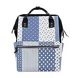 Bolsa de pañales de estilo azul con estilo elegante, multifunción, para el cuidado del bebé, bolsa de pañales de gran capacidad, para el cuidado del bebé, gran capacidad