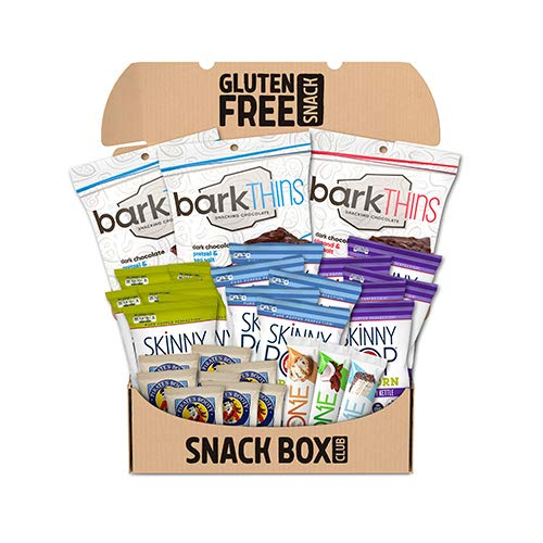 SNACK BOX CLUB Healthy and Gluten-Free Snack Box Featuring SKINNY POP, barkTHINS, ONE and PIRATE'S BOOTY Snacks, Individually Wrapped Snack Assortment Box, 30 Ct Variety Pack