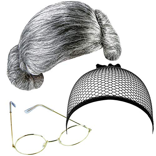 BETOY Old Lady Costume, Peluca Gris Abuela Peluca Granny Gafas Señora Mayor Gorra de Peluca Comúnmente Utilizado para Personas Mayores, Maestros, Cosplay, Accesorios de Rendimiento, Fiestas Temáticas