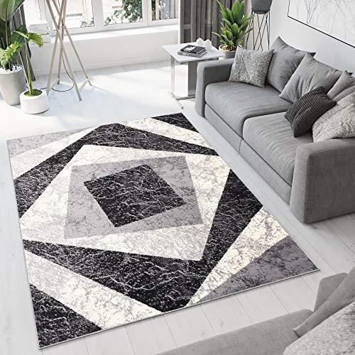 TAPISO Dream Tappeto Soggiorno Salotto Moderno Grigio Nero Geometrico Quadrato A Pelo Corto 300 x 400 cm