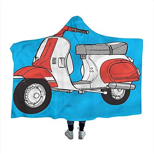 Funky Draagbare Deken Scooter Vintage Motorfiets Mantel Deken voor Slaap Nap 50