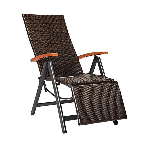 TecTake 800720 Aluminium Poly Rattan Relaxsessel mit Fußablage, klappbar & verstellbar, für Garten, Balkon & Terrasse…