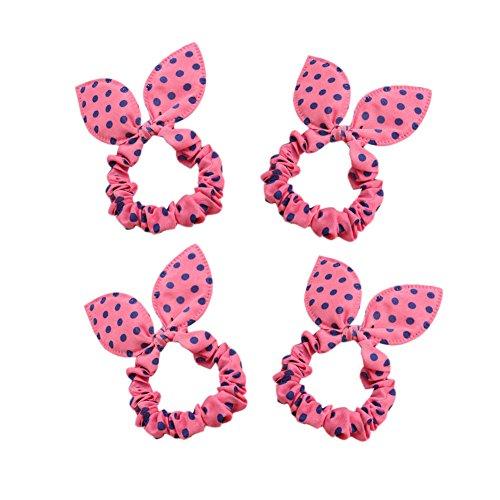 Oreilles de lapin mignon cheveux élastiques liens avec Bleu Dots, 10 comte, rose