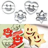 Yingwei 4 Ausstech-Formen Smile Keks-Formen Emoji Smiley Herz Stern Blume für lustiges Gebäck