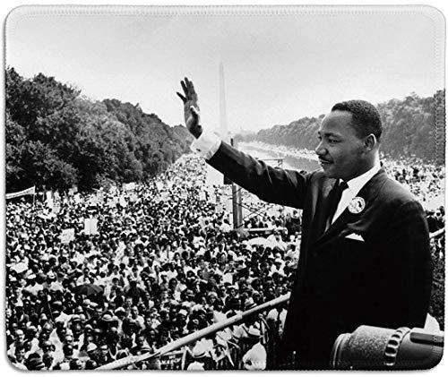 Dealzepic - Art Mousepad - Mauspad aus Naturkautschuk mit klassischem Foto von Martin Luther King Jr., der seine Rede 'Ich habe einen Traum' gibt - genähte Kanten