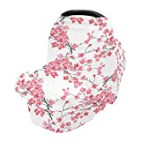Baby Car Seat Covers Canopies for Boys Girls Branches of Cherry Blossoms Infant Stroller Cover Nursing Cover Breastfeeding Scarf Warm Windproof