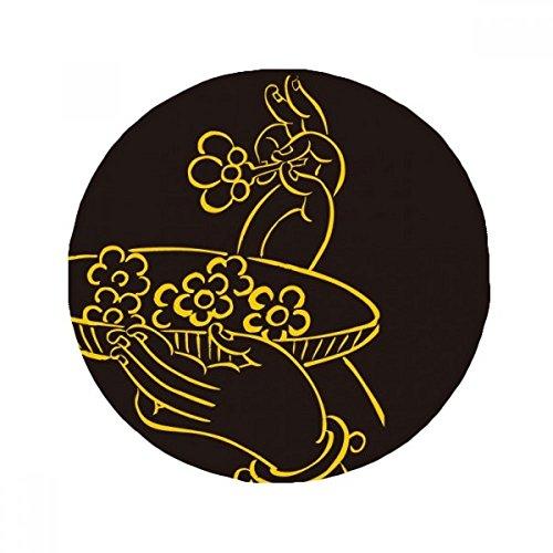 DIYthinker Religión Budista Mano Flor Plato Redondo Antideslizante Alfombra Pet, Cuarto de baño salón Cocina Puerta 80cm Regalo