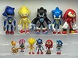Modelo mano 11 unids / set Sonic Games Model Dolls Supersonic Cartoon Toys Hedgehog Character Anime Figura Regalos de cumpleaños Decoración