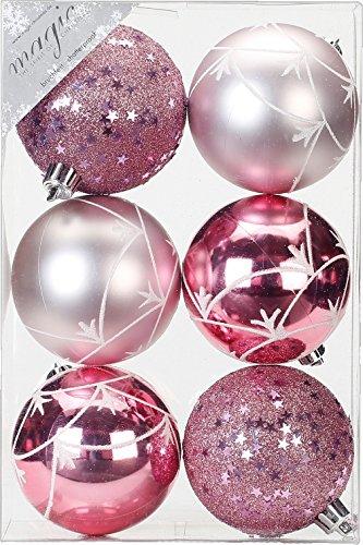 Bolas de Navidad de 8 cm, color rosa claro (rosa – rosa claro), decoración de plástico irrompible, bolas decorativas para árbol de Navidad, 80 mm