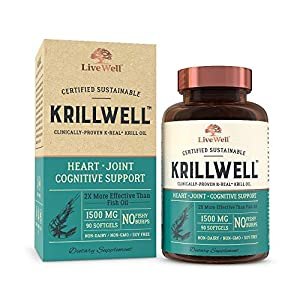 KrillWell Heart, Joint, and Cognitive Support | Certified Sustainable, Clinically-Proven K-Real Krill Oil 2X More Effective Than Fish Oil - 30 Day Supply