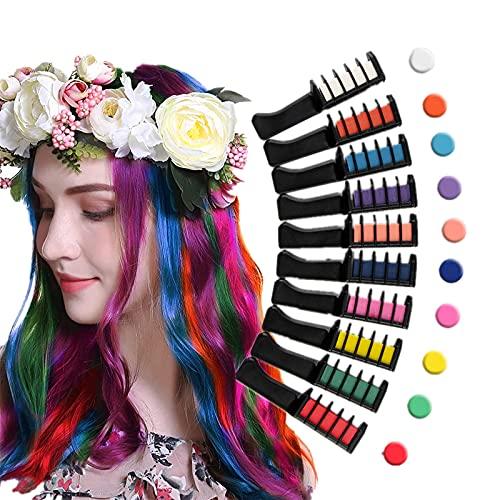 Baguri Disposable Hair Chalk Comb,Hair Chalk Comb DIY Paint with Protector Cover, Spa Deluxe Hair Chalk Salon Girls Fashion Activity,Temporary Hair Color Chalk Comb Set,Hair Chalk for Girls and Boys