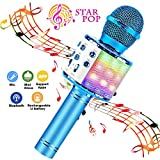 2. BlueFire Wireless 4 in 1 Bluetooth Karaoke Microphone with LED Lights, Portable Microphone for Kids, Best Gifts Toys for 4 6 8 10 12 Year Old Girls Boys (Blue)