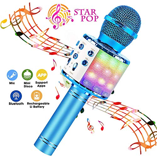 BlueFire Wireless 4 in 1 Bluetooth Karaoke Microphone with LED Lights, Portable Microphone for Kids, Best Gifts Toys for 4 6 8 10 12 Year Old Girls Boys (Blue)