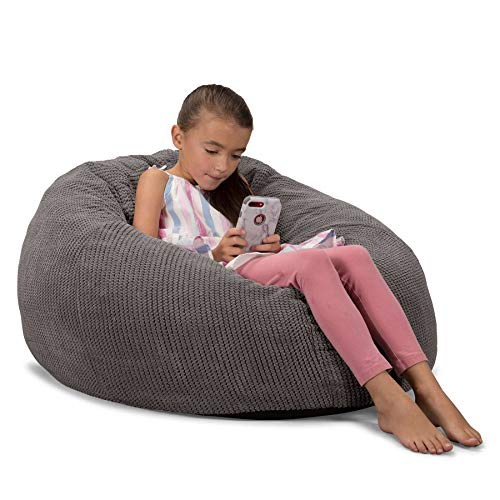 Lounge Pug, CloudSac 200 Kinder, Riesen Memory-Schaum Kinder Sitzsack, Pom-Pom Anthrazit