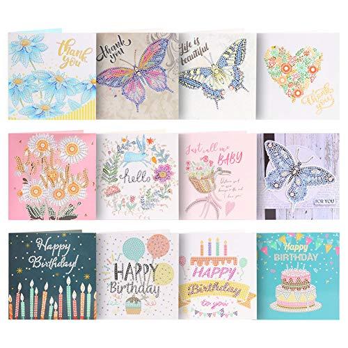 12pcs 5D DIY Diamond Painting Greeting Card Creative Birthday Card Special...