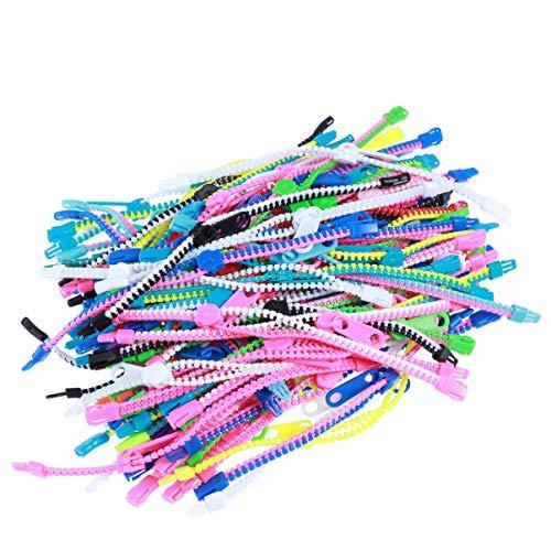 Toddmomy 50Pcs Fidget Toys Pulseras con Cremallera Pulseras con Cremallera para Estudiantes Cumpleaños de Niños Bolsas de Regalos Pequeños Premios (Colores Surtidos)