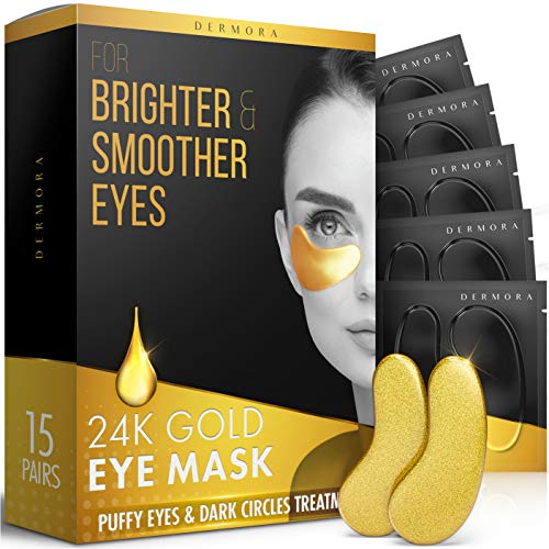 24K Gold Eye Mask– 15 Pairs - Puffy Eyes and Dark Circles Treatments – Look Less Tired and Reduce Wrinkles and Fine Lines Undereye, Revitalize and Refresh Your Skin
