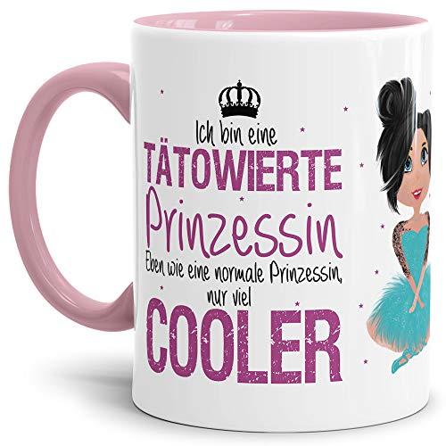 Tasse Tätowierte Prinzessin - Brünett - Tätowiert/Diva/für die Beste Freundin/Witzig/Lustig/Becher/Innen & Henkel Rosa