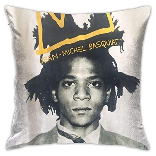 Jean Michel Basquiat Funda de Almohada Decorativa de Microfibra súper Suave Funda de Almohada de cojín de Cintura de Moda 18x18 Pulgadas (45 X 45 cm)