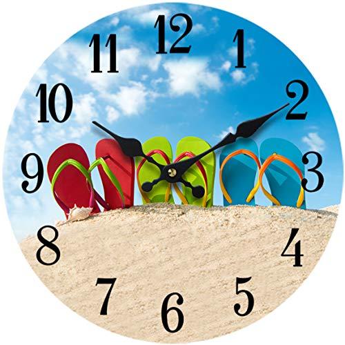 Sea Creations Flip-Flop Glass Wall Clock New 13-X-13Home-Wall-Decor-Coastal-Nautical-Beach