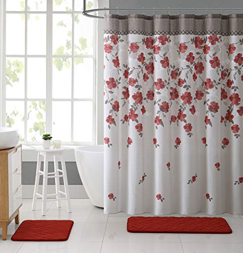 All American Collection 15-Piece Oversized Bathroom Set with 2 Memory Foam Bath Mats and Matching Shower Curtain   Designer Patterns and Colors (Lani Coral)