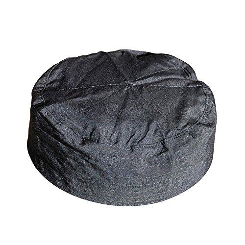 TheKufi Kappe, flach, für Herren und Kinder, einfaches Stitch-Design, Stoff, muslimisch, Kufi, Namaz, Schwarz -  Schwarz -  large