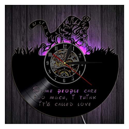 OLDFAI Schallplatte Wanduhr, Mit Winnie The Pooh Logo Muster 3D Design Dekoration Uhr Handgemachte Kunst LED Nachtlampe Uhren Für Familien Zimmer, Durchmesser 30 cm,with LED