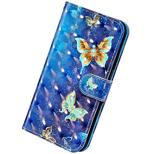 Herbests Kompatibel mit iPhone 11 Pro Handyhülle Handytasche Leder Hülle 3D Bunt Glitzer Bling Glänzend Muster Leder Schutzhülle Flip Case Brieftasche Wallet Tasche,Schmetterling