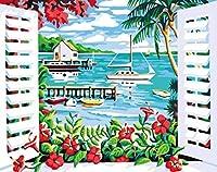 DMFNGJSD 数字油絵 フレーム付き 、数字キット塗り絵 手塗り DIY絵-窓からの海の眺め-デジタル油絵 40x50 cm