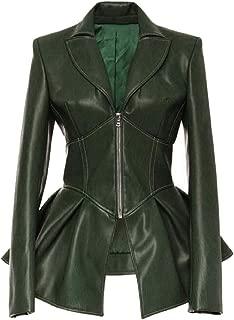 Macondoo Women Basic Faux Leather Swing Biker Zipper Coat Jackets