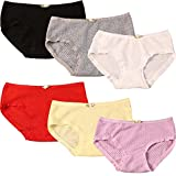OULU Cotton Brief Underwear for Womens/Teen Girls Candy Color Lingerie Panty Panties Set,6 Pack Underwear (5010-1),One Size for 12-16 years old Girls