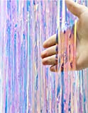Asunflower 9.8Ft Backdrop Curtains for Parties Iridescent Fringe Plastic Metallic Foil Fringe Curtains Christmas Hanging Streamers for Party/Prom/Birthday Favors