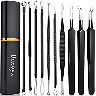 Boxoyx 10 Piece Pimple Popper Tool Kit Boxoyx Blackhead Remover Comedone Extractor Kit with Metal Case for Quick and Easy Removal of Pimples, Blackheads, Zit Removal, Forehead, Facial, and Nose (Black)