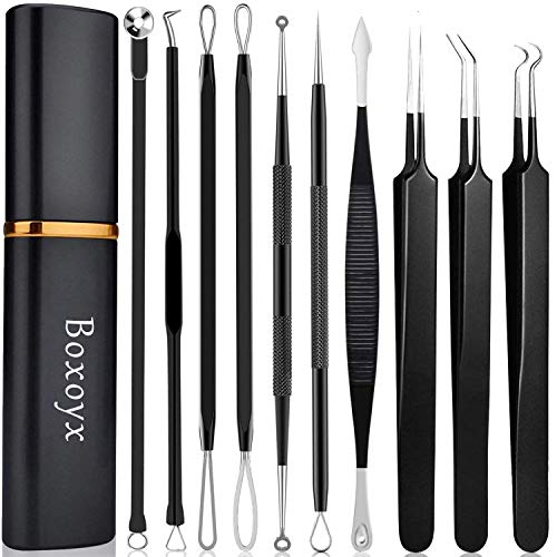 Pimple Popper Tool Kit - Boxoyx 10 Pcs Blackhead Remover Comedone Extractor Kit with Metal Case for Quick and Easy Removal of Pimples, Blackheads, Zit...