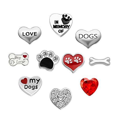 CharmSStory 10 Pcs Dog Floating Charms for Glass Living Memory Lockets Necklace Bracelet (Dog Style)