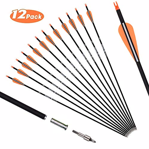 Szeo 30 inch Carbon Arrows Youth Targeting Practice Hunting Arrows for Compound Bow Recurve Bow with Removable Tips (Pack of 12)
