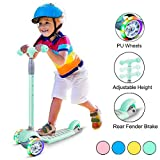 67i Scooters for Kids Scooters 3 Wheel for Toddler Scooter for Girls Boys 4 Adjustable Height Lean to Steer with Wide Deck PU Flashing Wheels for Children 3 to 12 Years Old(Green)