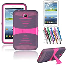 Galaxy Tab 3 7.0 Case, TDA Trading (TM) Heavy Duty Hybrid Full Protection Cover Case with Kickstand for Samsung Galaxy Tab 3 7.0 P3200 P3210 SM-T210 with 1 Screen Protector + 1 Randon Color Stylus