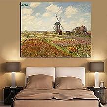 Flduod Campo de Tulipanes en Lienzo de Monet Impresionismo Cartel de Pintura al óleo Pintura de Lienzo a Prueba de Agua Cartel de baño Sala de Estar Arte de pared-50x70cm-Sin Marco