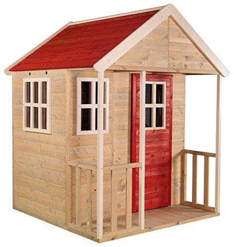 Casetta per bambini in legno all'aperto | Taglia M tipo aperto casa di avventura nordica con balcone, finestra in perspex, scaffale giocattolo, porta piena