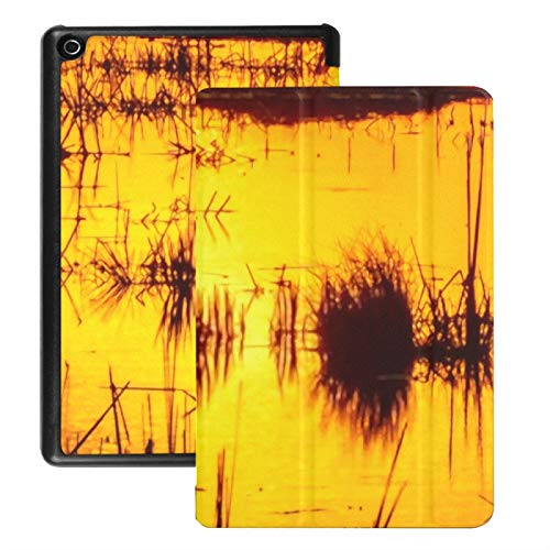 Case For Fire Hd 8 Tablet (2018/2017/2016 Release), Silhouettes Reeds Grass Growing Marsh Reflecting Case Cover With Auto Wake/sleep