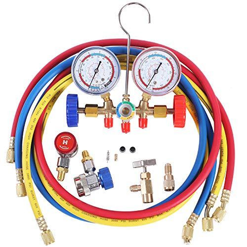 JIFETOR Juego de manómetro de 3 vías de CA de 3 vías, herramienta de carga de freón de diagnóstico HVAC para refrigerante Auto Household R12 R22 R404A R134A, con manguera de 5...